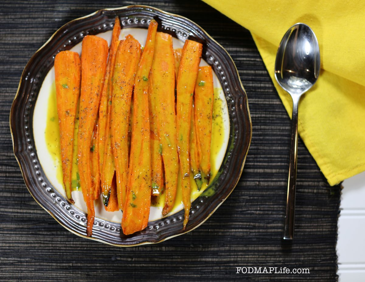 low fodmap carrots with turmeric maple mint dressing