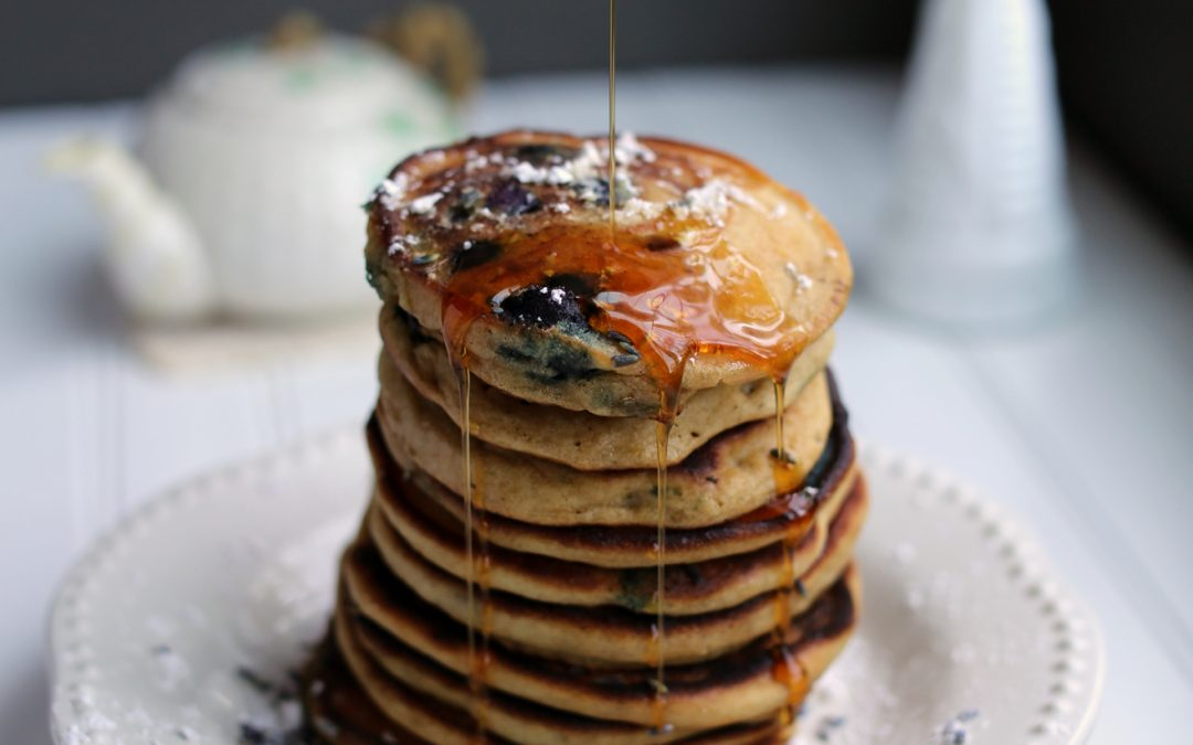 Low-FODMAP Blueberry Lavender Pancakes