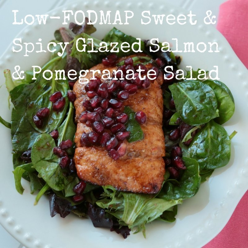 Low-FODMAP Sweet & Spicy Glazed Salmon with Pomegranate Salad