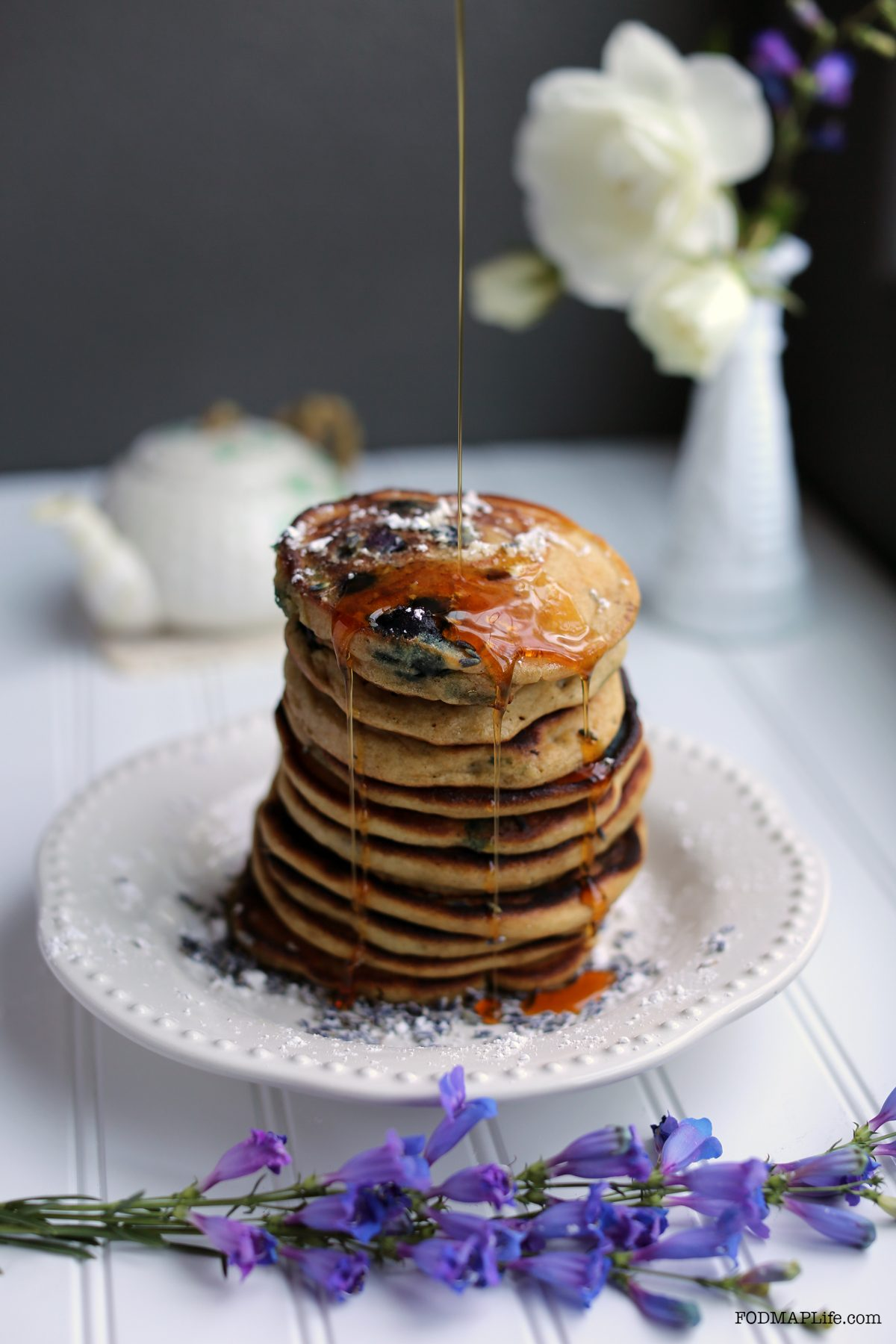 low fodmap blueberry lavender pancakes