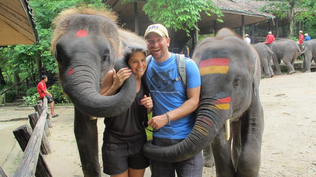 My husband and I in Thailand, June 2014. Wish I could have taken those elephants home!
