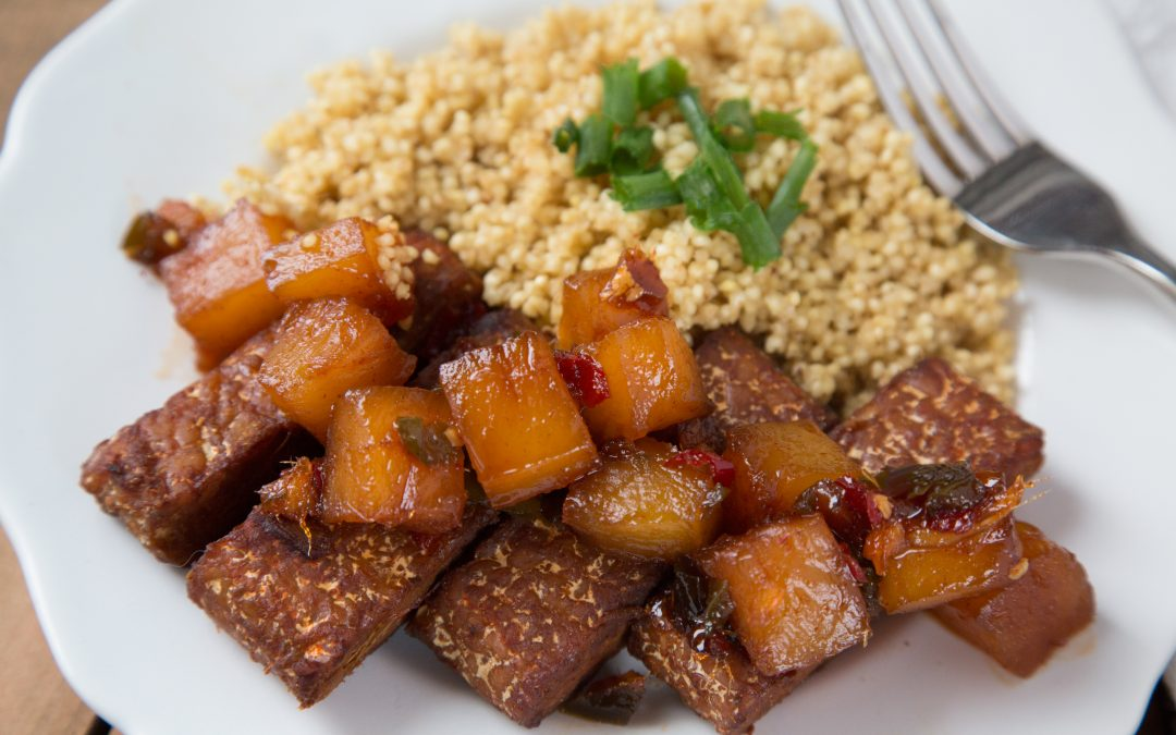 Low-FODMAP Marinated Tempeh with Pineapple Chutney and Millet