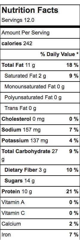 Nutrition facts to the low-FODMAP peanut butter protein bar