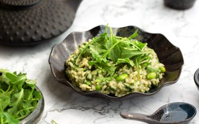 VEGAN Low-FODMAP Green Tea Goddess Risotto Recipe